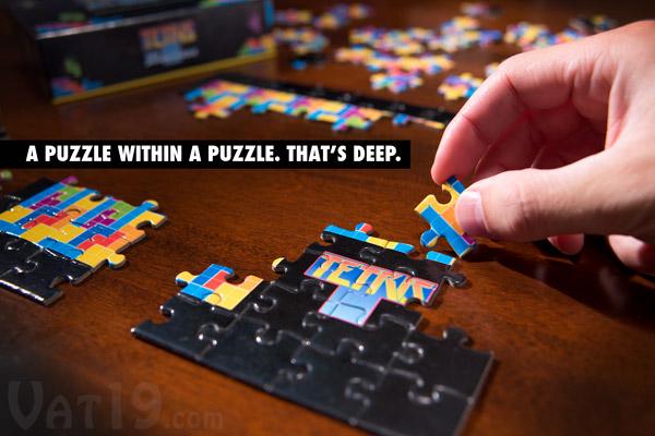 Tetris Mini Jigsaw Puzzle on a table.