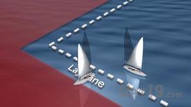 Sailboat racing near the layline