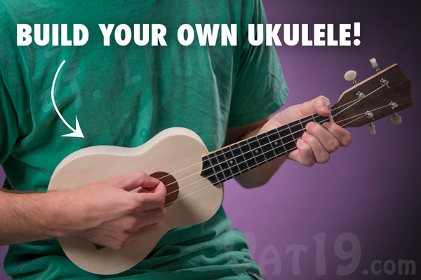 Man playing his DIY Ukulele Kit.