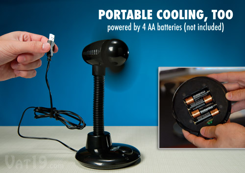 USB Table Fan with optional AA battery compartment
