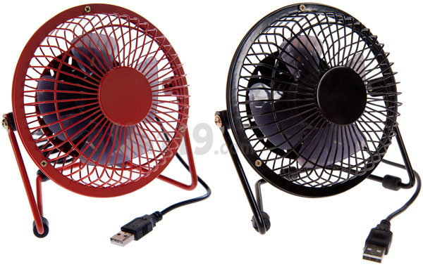 USB Retro Metal Desk Fan is available in red and black.