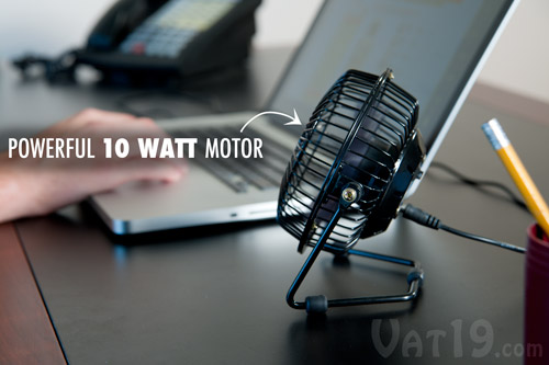 The 4-inch-tall USB Retro Metal Desk Fan features a powerful 10 watt motor.