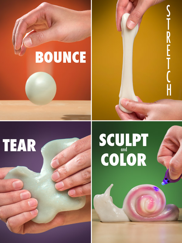 Hands bouncing, stretching, tearing, and sculpting Phantom UV Putty.