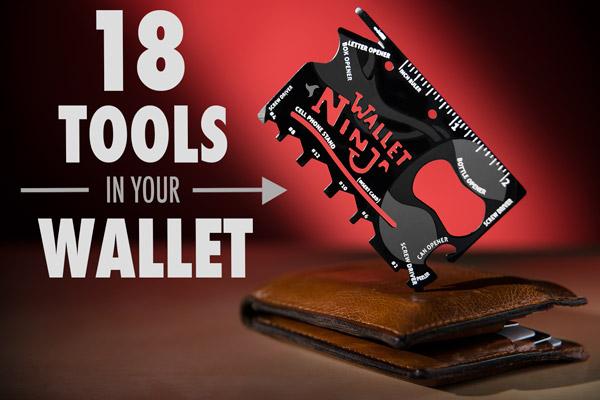 Wallet Ninja multi-tool resting on top of a wallet.