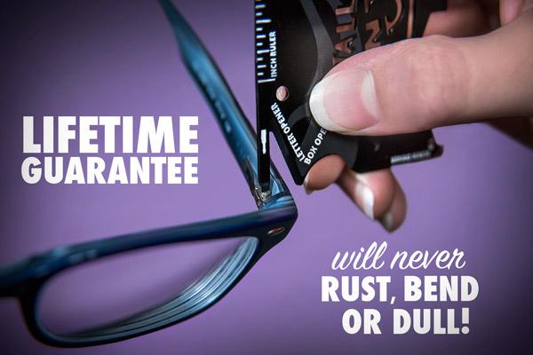 The eyeglass screwdriver on the Wallet Ninja being used on a pair of eyeglasses.