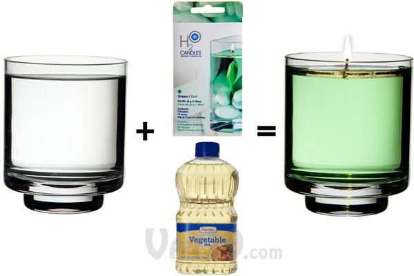 With the Water Candle Kit, you can create your own colorful candle with just a container, water, and cooking oil.