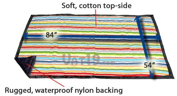 The Tuffo Water-Resistant Blanket has a cotton top-side, waterproof backing, and is large enough for a family picnic.