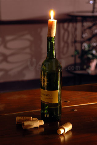 Wine Cork Candle on a table