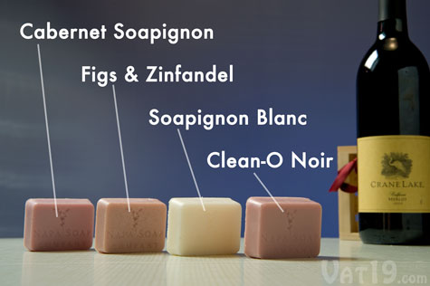 Each Wine Soap Gift Create includes four popular guest-sized soaps.