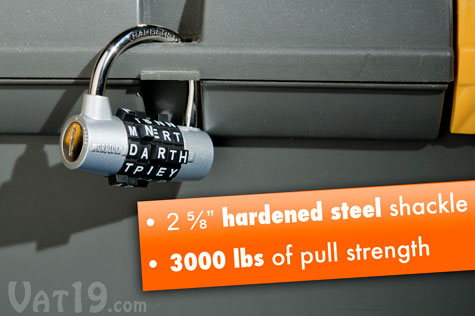 WordLock Padlocks feature a hardened steel shackle and 3000 lbs of pull strength.