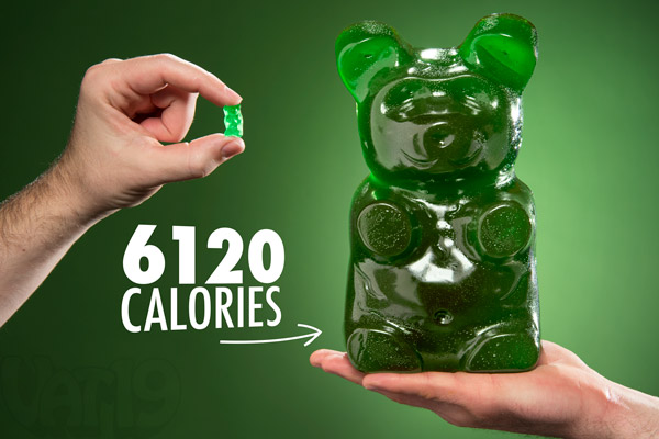 The World's Largest Gummy Bear is 6,120 calories.
