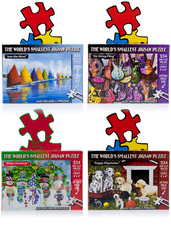 The World's Smallest Jigsaw Puzzle is available in a variety of styles.