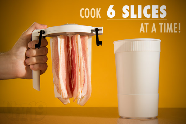 Quickly and perfectly cook six slices of bacon at a time with WowBacon.