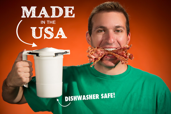 The WowBacon Microwave Bacon Cooker is made in the USA.
