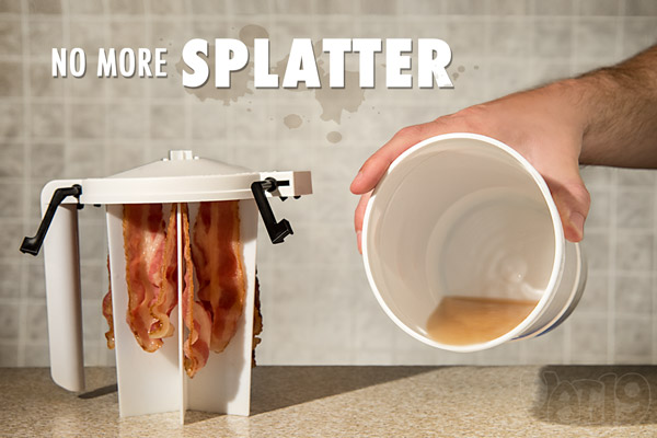 The WowBacon Cooker contains all splatter and mess.
