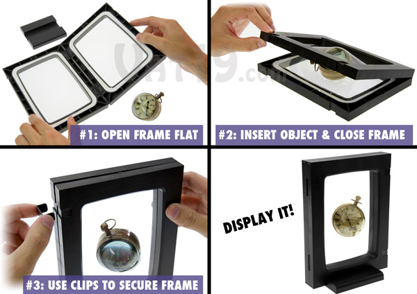 Step-by-step instructions on how to put an item into your 3D Display Frame.