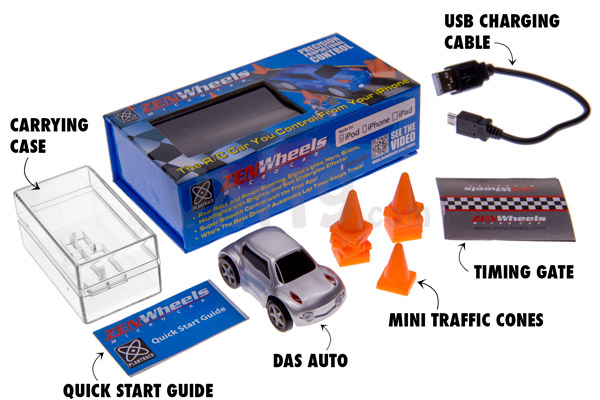 Each ZenWheels iPhone Microcar includes a plastic carrying case, Quick Star guide, USB charging cable, timing gate, and ten traffic cones.