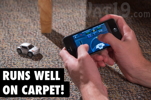 The ZenWheels Microcar remote control iPhone car works well on carpet.