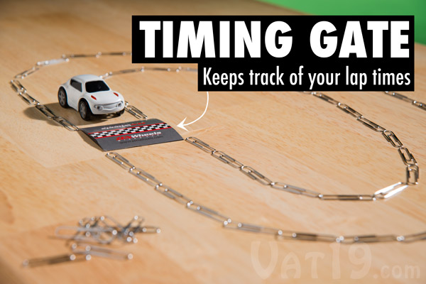 Race against yourself as well as others with the included timing gate.