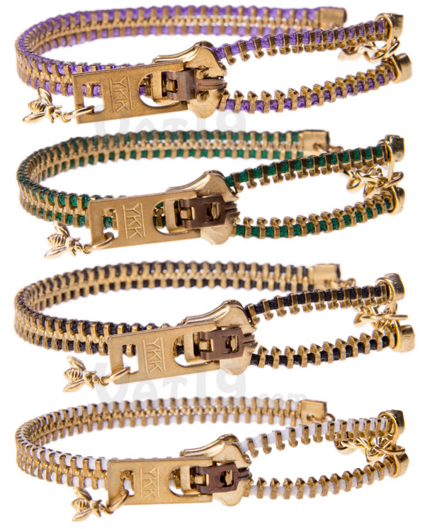 The Zipper Bracelet is available in a variety of colors.