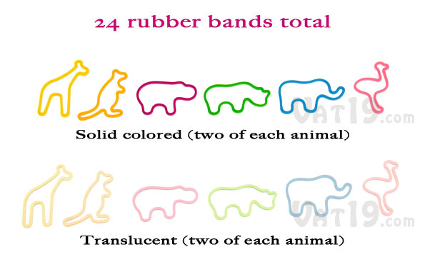Zoo Animal Rubber Bands will liven up the office